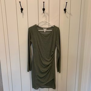 Green Midi Dress with Gathering on Side